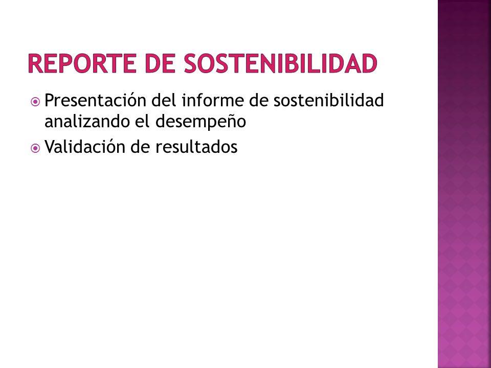 Presentación del informe de sostenibilidad analizando el desempeño Validación de resultados