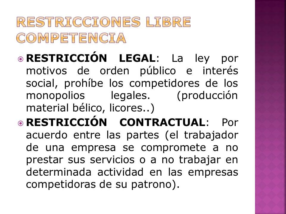 RESTRICCIÓN LEGAL: La ley por motivos de orden público e interés social, prohíbe los competidores de los monopolios legales.