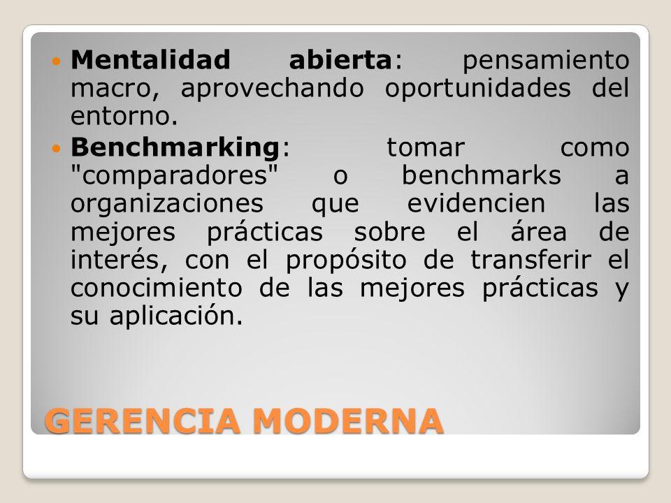 GERENCIA MODERNA Mentalidad abierta: pensamiento macro, aprovechando oportunidades del entorno.