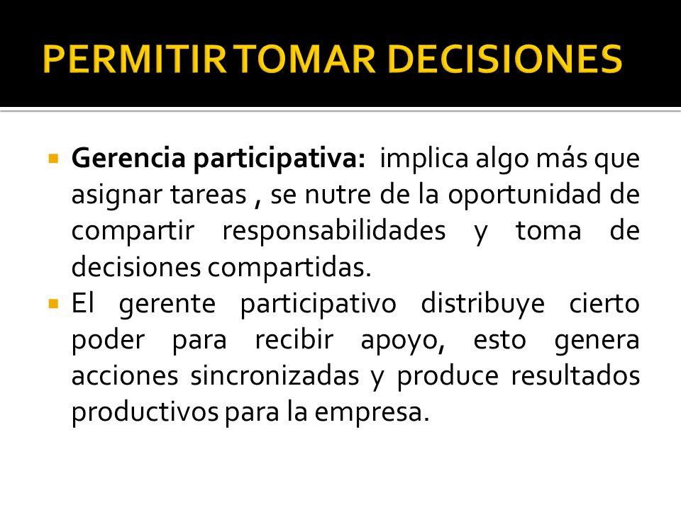 Gerencia participativa: implica algo más que asignar tareas, se nutre de la oportunidad de compartir responsabilidades y toma de decisiones compartida