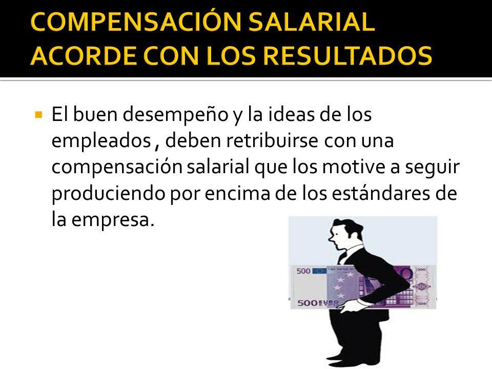 El buen desempeño y la ideas de los empleados, deben retribuirse con una compensación salarial que los motive a seguir produciendo por encima de los e