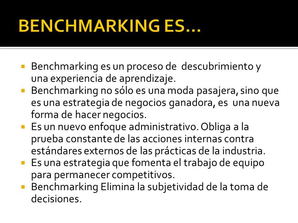 Benchmarking es un proceso de descubrimiento y una experiencia de aprendizaje. Benchmarking no sólo es una moda pasajera, sino que es una estrategia d