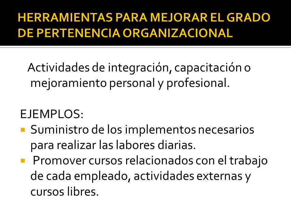 Actividades de integración, capacitación o mejoramiento personal y profesional. EJEMPLOS: Suministro de los implementos necesarios para realizar las l
