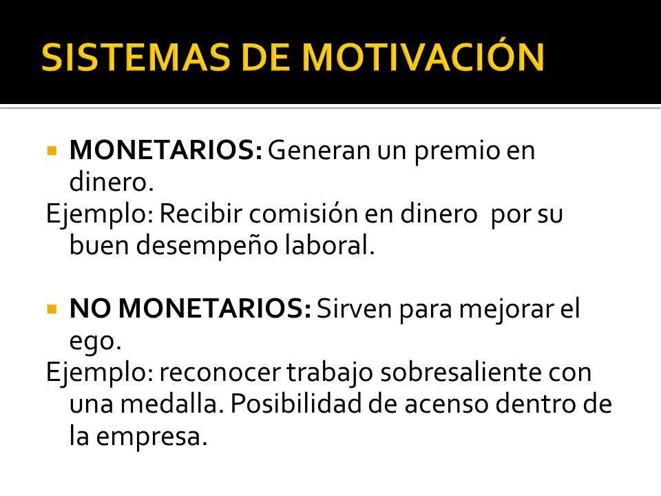 MONETARIOS: Generan un premio en dinero. Ejemplo: Recibir comisión en dinero por su buen desempeño laboral. NO MONETARIOS: Sirven para mejorar el ego.