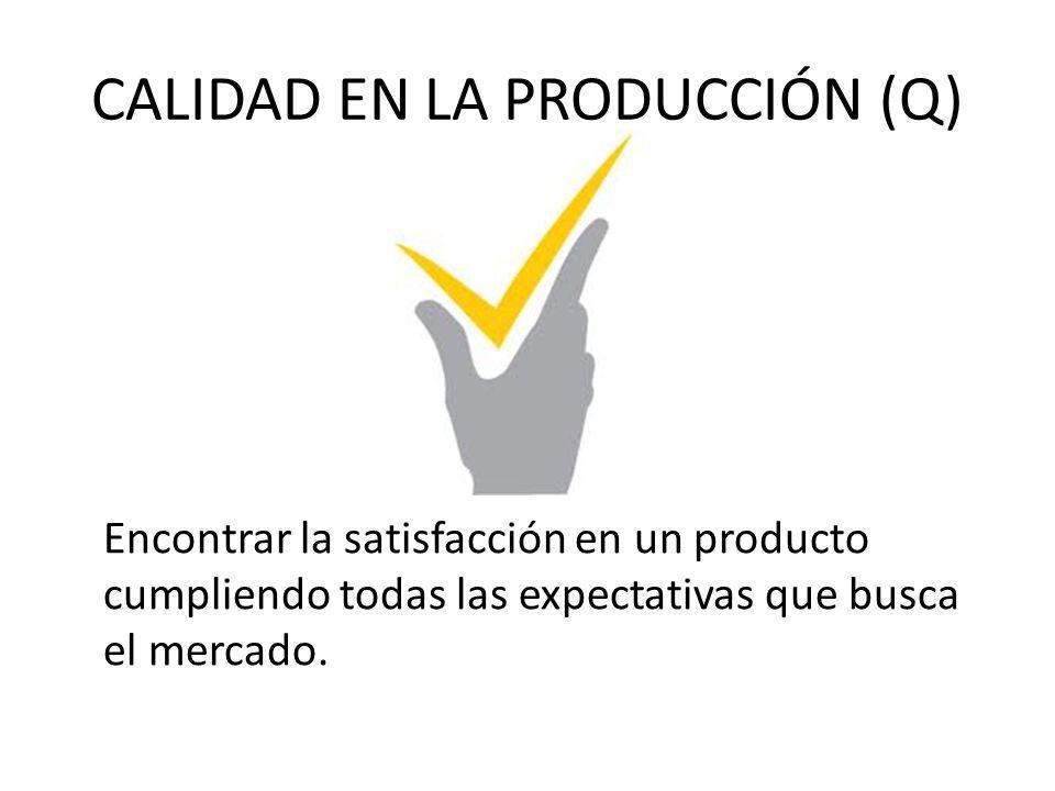 CALIDAD EN LA PRODUCCIÓN (Q) Encontrar la satisfacción en un producto cumpliendo todas las expectativas que busca el mercado.