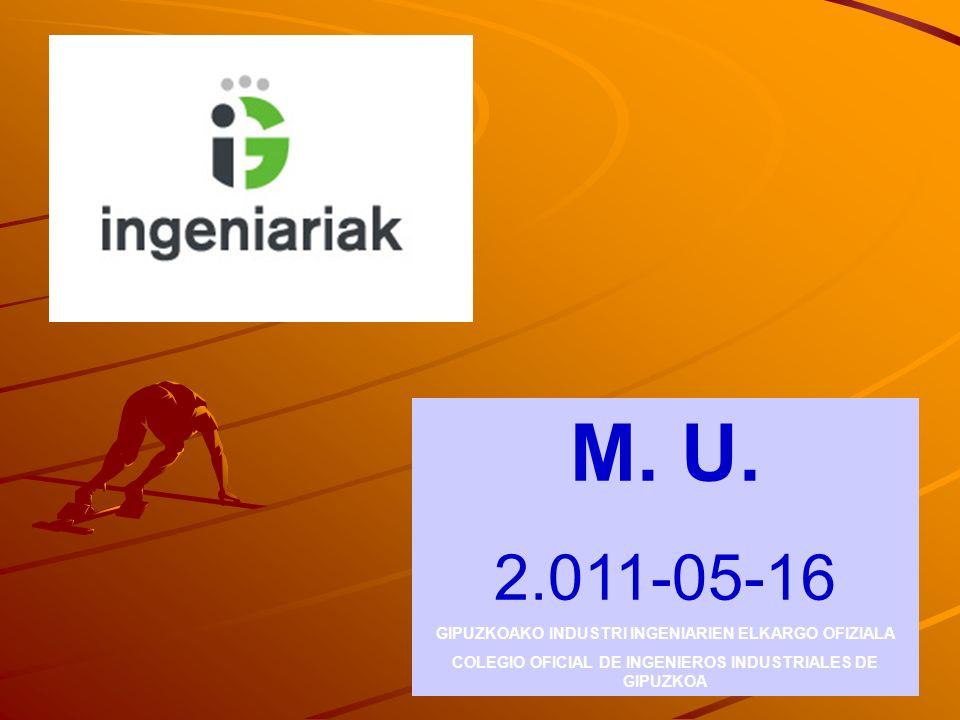 M. U. 2.011-05-16 GIPUZKOAKO INDUSTRI INGENIARIEN ELKARGO OFIZIALA COLEGIO OFICIAL DE INGENIEROS INDUSTRIALES DE GIPUZKOA