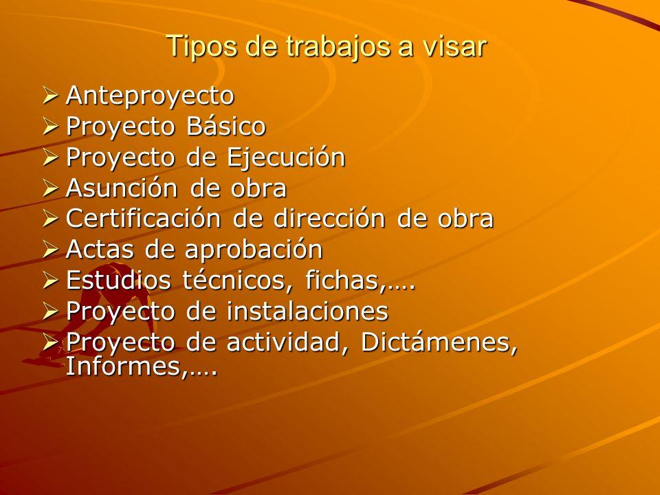 Tipos de trabajos a visar Anteproyecto Anteproyecto Proyecto Básico Proyecto Básico Proyecto de Ejecución Proyecto de Ejecución Asunción de obra Asunc