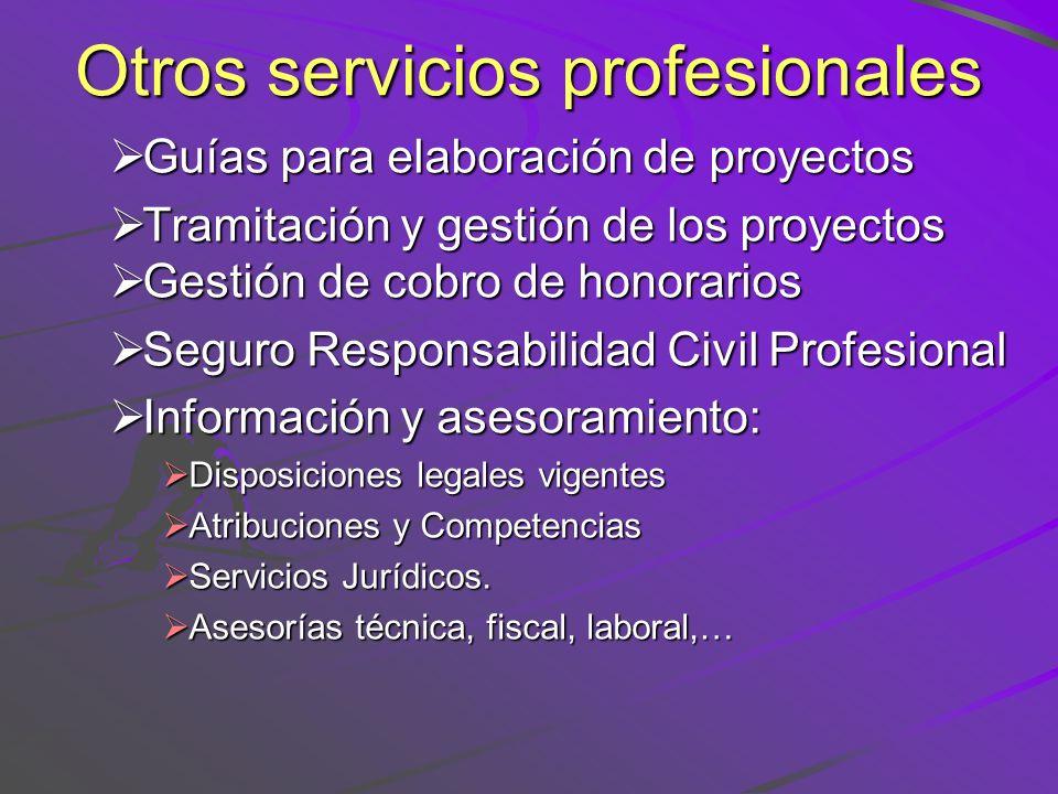 Otros servicios profesionales Guías para elaboración de proyectos Guías para elaboración de proyectos Tramitación y gestión de los proyectos Tramitaci