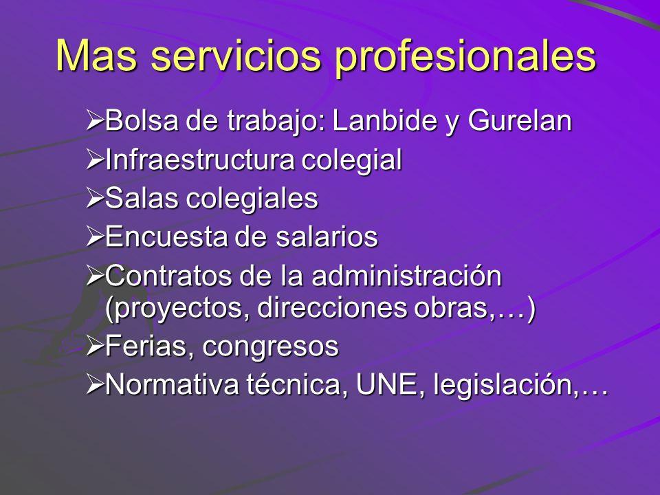Mas servicios profesionales Bolsa de trabajo: Lanbide y Gurelan Bolsa de trabajo: Lanbide y Gurelan Infraestructura colegial Infraestructura colegial