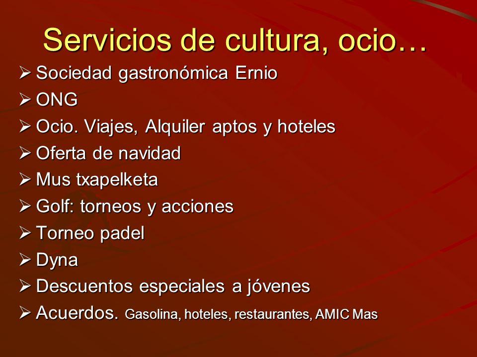 Servicios de cultura, ocio… Sociedad gastronómica Ernio Sociedad gastronómica Ernio ONG ONG Ocio. Viajes, Alquiler aptos y hoteles Ocio. Viajes, Alqui