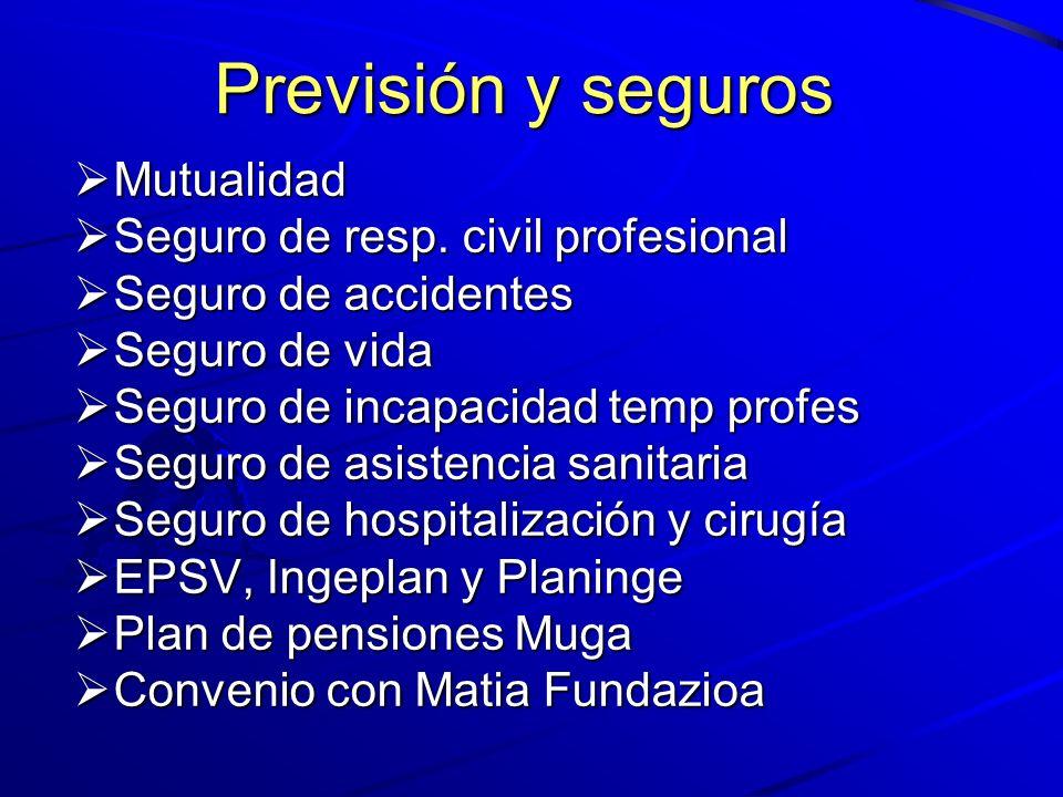 Previsión y seguros Mutualidad Mutualidad Seguro de resp. civil profesional Seguro de resp. civil profesional Seguro de accidentes Seguro de accidente
