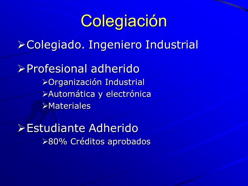 Colegiación Colegiado. Ingeniero Industrial Colegiado. Ingeniero Industrial Profesional adherido Profesional adherido Organización Industrial Organiza