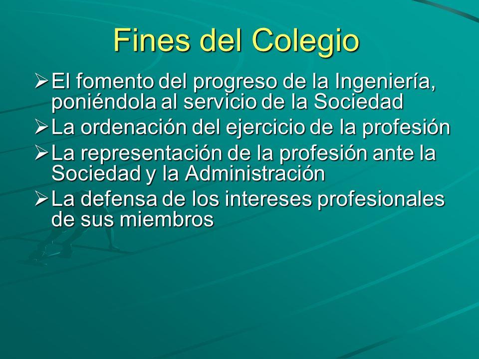 Fines del Colegio El fomento del progreso de la Ingeniería, poniéndola al servicio de la Sociedad El fomento del progreso de la Ingeniería, poniéndola