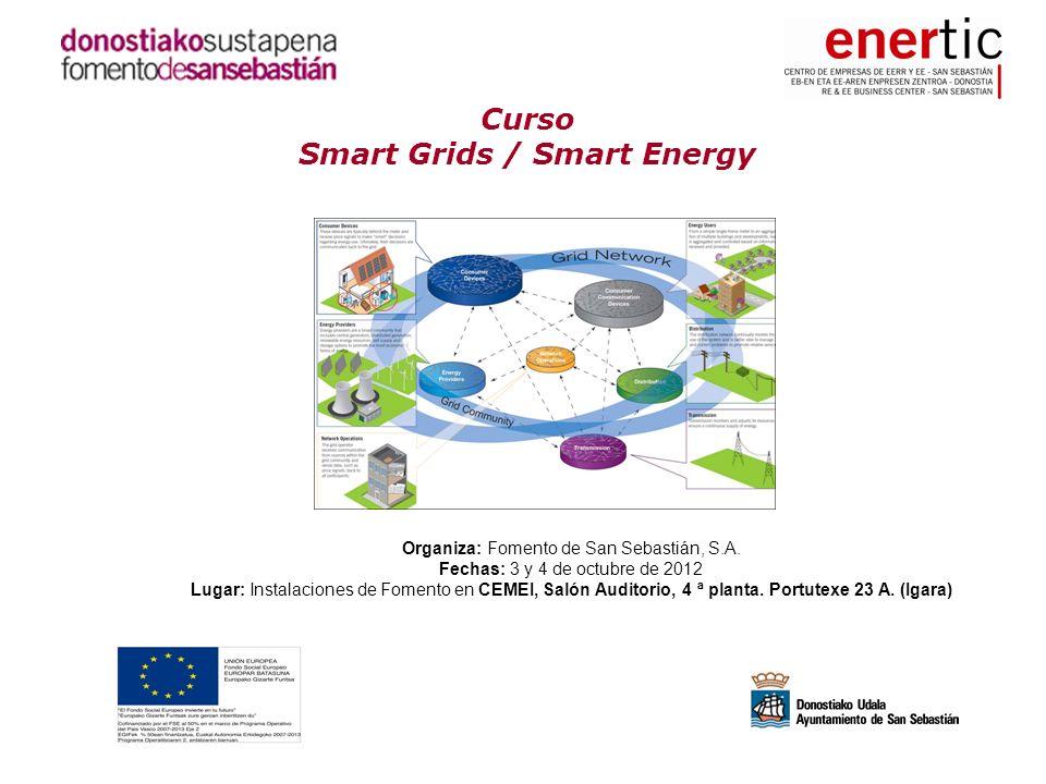 Curso Smart Grids / Smart Energy Organiza: Fomento de San Sebastián, S.A. Fechas: 3 y 4 de octubre de 2012 Lugar: Instalaciones de Fomento en CEMEI, S