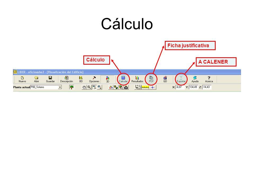 Cálculo A CALENER Ficha justificativa Cálculo