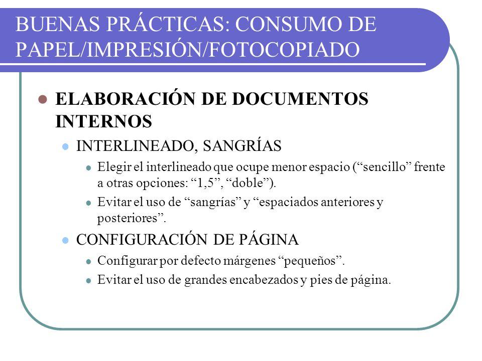 BUENAS PRÁCTICAS: CONSUMO DE PAPEL/IMPRESIÓN/FOTOCOPIADO ELABORACIÓN DE DOCUMENTOS INTERNOS INTERLINEADO, SANGRÍAS Elegir el interlineado que ocupe me