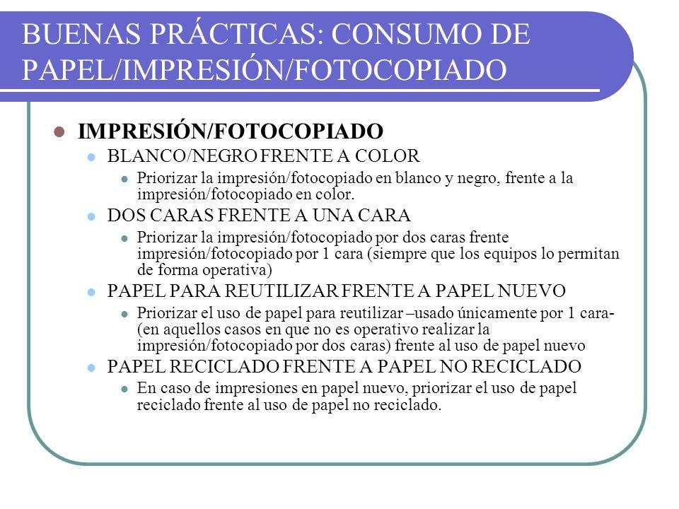 BUENAS PRÁCTICAS: CONSUMO DE PAPEL/IMPRESIÓN/FOTOCOPIADO IMPRESIÓN/FOTOCOPIADO BLANCO/NEGRO FRENTE A COLOR Priorizar la impresión/fotocopiado en blanc