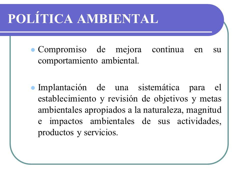 POLÍTICA AMBIENTAL Compromiso de mejora continua en su comportamiento ambiental. Implantación de una sistemática para el establecimiento y revisión de