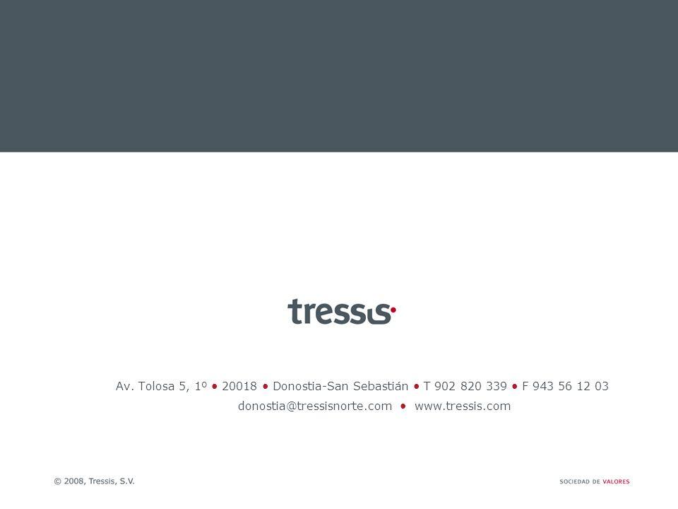 Av. Tolosa 5, 1º 20018 Donostia-San Sebastián T 902 820 339 F 943 56 12 03 donostia@tressisnorte.com www.tressis.com