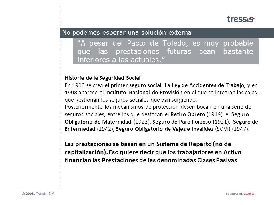 No podemos esperar una solución externa A pesar del Pacto de Toledo, es muy probable que las prestaciones futuras sean bastante inferiores a las actua