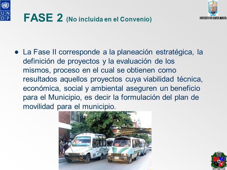 FASE 2 (No incluida en el Convenio) La Fase II corresponde a la planeación estratégica, la definición de proyectos y la evaluación de los mismos, proc