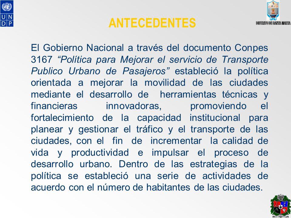 ANTECEDENTES El Gobierno Nacional a través del documento Conpes 3167 Política para Mejorar el servicio de Transporte Publico Urbano de Pasajeros estab