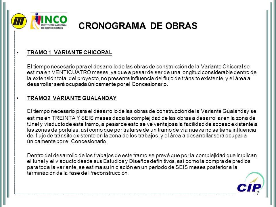 17 CRONOGRAMA DE OBRAS TRAMO 1 VARIANTE CHICORAL El tiempo necesario para el desarrollo de las obras de construcción de la Variante Chicoral se estima