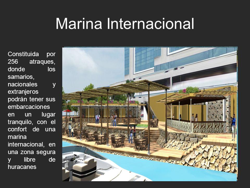 Marina Internacional Constituida por 256 atraques, donde los samarios, nacionales y extranjeros podrán tener sus embarcaciones en un lugar tranquilo,