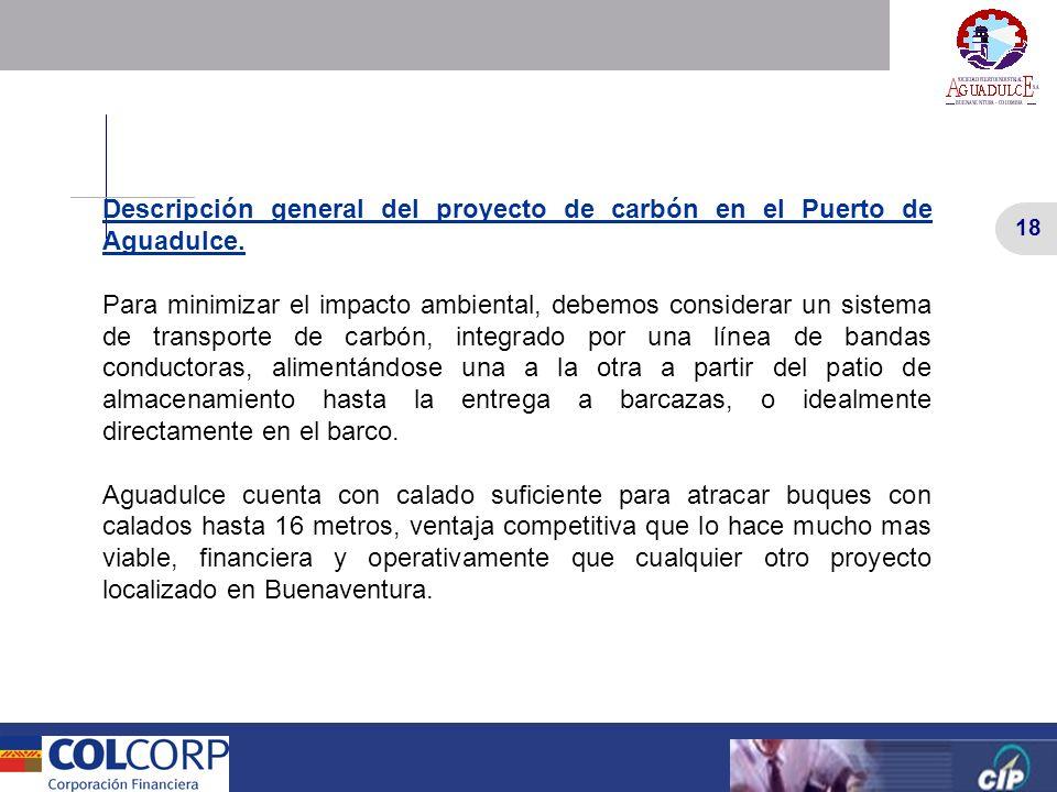18 Versión Preliminar 18 Versión Preliminar Descripción general del proyecto de carbón en el Puerto de Aguadulce. Para minimizar el impacto ambiental,