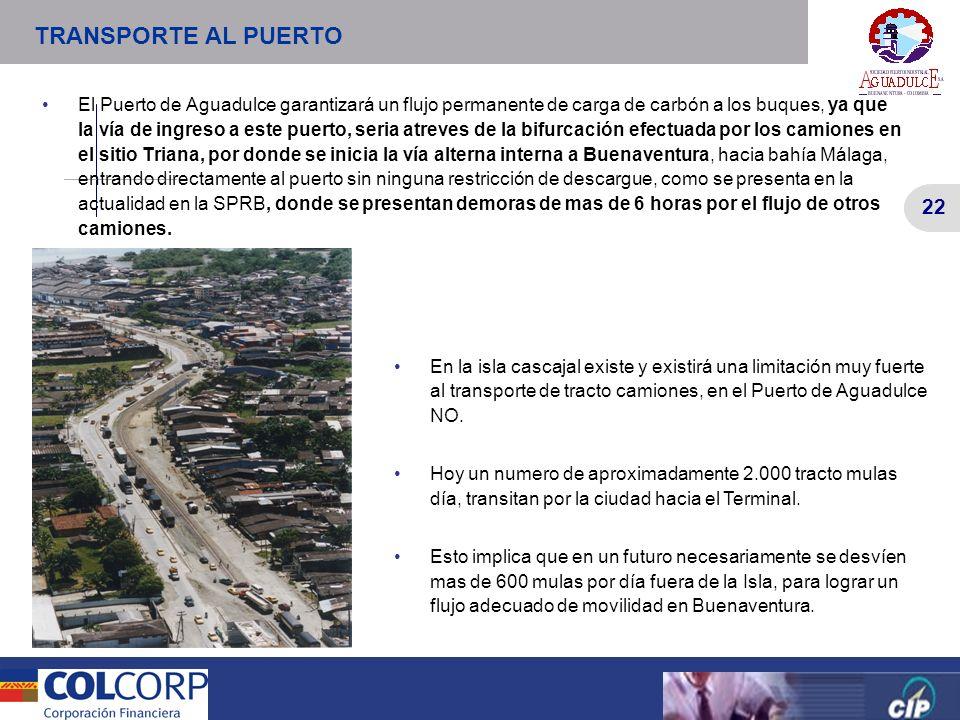 22 Versión Preliminar 22 Versión Preliminar El Puerto de Aguadulce garantizará un flujo permanente de carga de carbón a los buques, ya que la vía de i