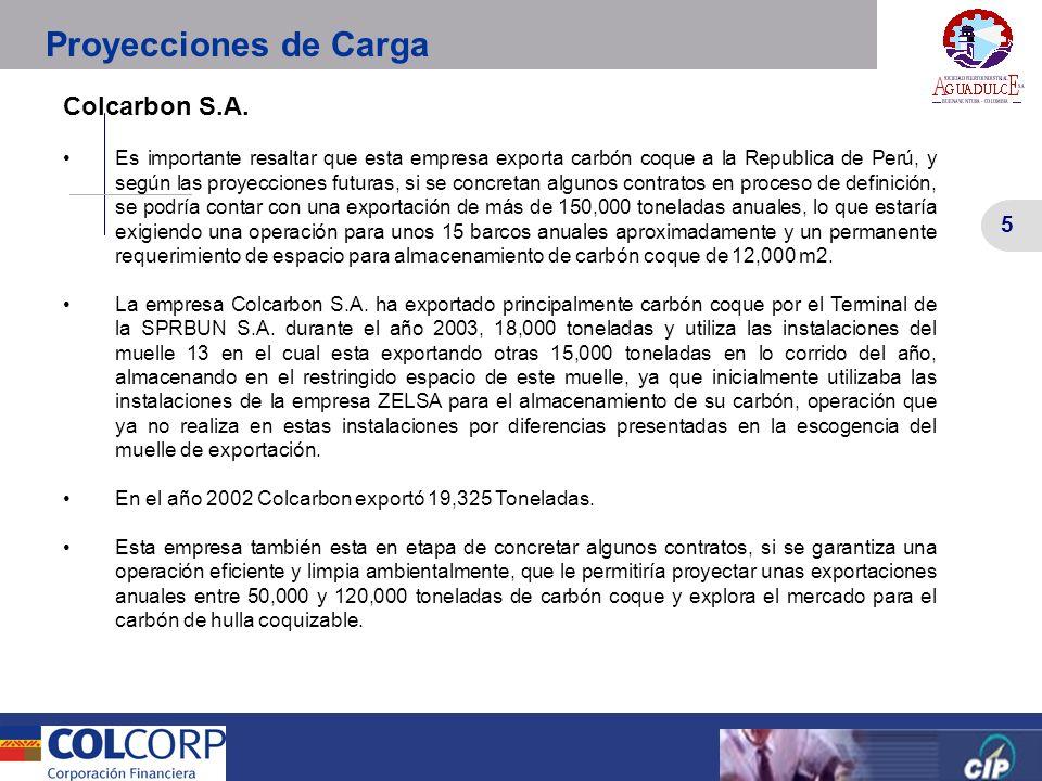 5 Versión Preliminar 5 Colcarbon S.A. Es importante resaltar que esta empresa exporta carbón coque a la Republica de Perú, y según las proyecciones fu