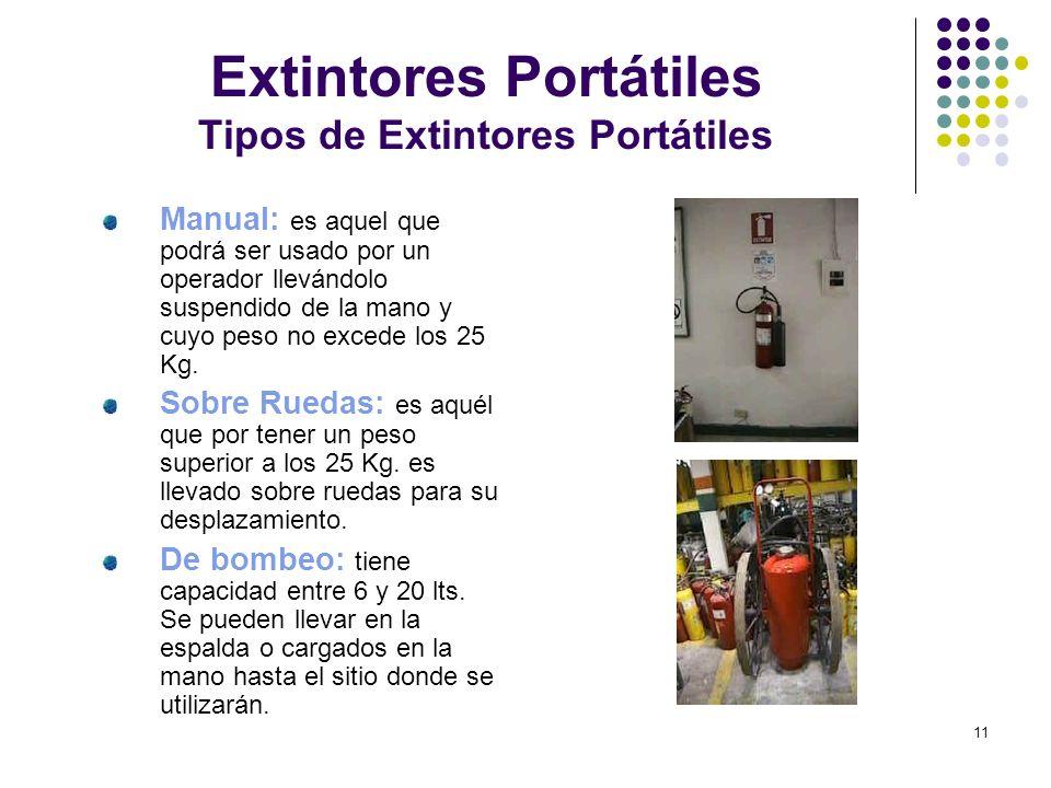 11 Extintores Portátiles Tipos de Extintores Portátiles Manual: es aquel que podrá ser usado por un operador llevándolo suspendido de la mano y cuyo p