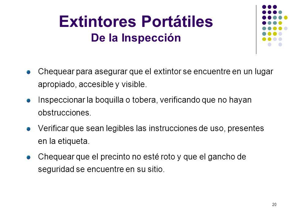 20 Extintores Portátiles De la Inspección Chequear para asegurar que el extintor se encuentre en un lugar apropiado, accesible y visible. Inspeccionar