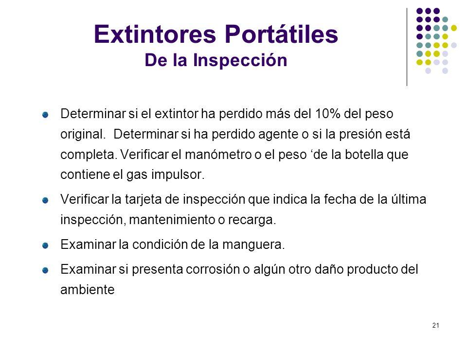21 Extintores Portátiles De la Inspección Determinar si el extintor ha perdido más del 10% del peso original. Determinar si ha perdido agente o si la
