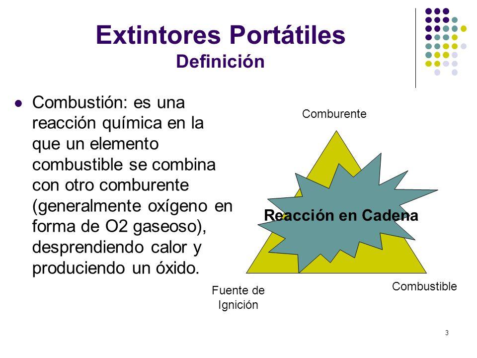 3 Extintores Portátiles Definición Comburente Fuente de Ignición Combustible Combustión: es una reacción química en la que un elemento combustible se