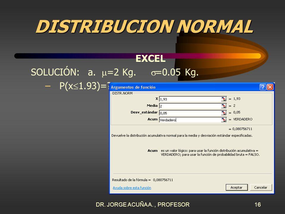 DR. JORGE ACUÑA A., PROFESOR15 DISTRIBUCION NORMAL EXCEL SOLUCIÓN: a. =2 Kg. =0.05 Kg. –P(x 1.93)=? En Excel se pulsa en el menú: INSERTAR, FUNCIÓN, E