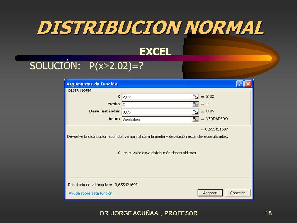 DR. JORGE ACUÑA A., PROFESOR17 DISTRIBUCION NORMAL EXCEL SOLUCIÓN: –P(x 2.02)=? En Excel se pulsa en el menú: INSERTAR, FUNCIÓN, ESTADÍSTICAS, DISTR.N