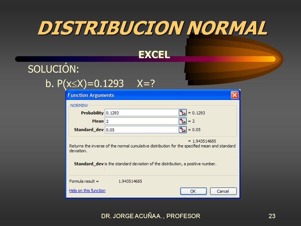 DR. JORGE ACUÑA A., PROFESOR22 DISTRIBUCION NORMAL EXCEL SOLUCIÓN: b. P(x X)=0.1293 X=? En Excel se pulsa en el menú y se elige Normal inversa. INSERT