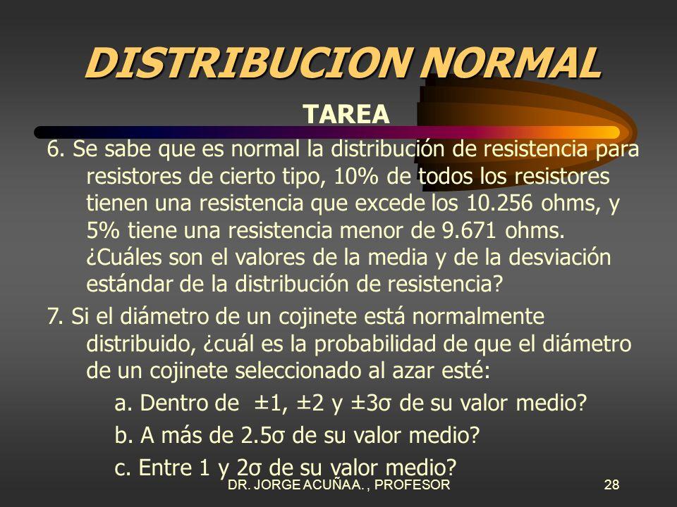 DR. JORGE ACUÑA A., PROFESOR27 DISTRIBUCION NORMAL TAREA 4. El ancho de una línea grabada en un circuito integrado está normalmente distribuido con me
