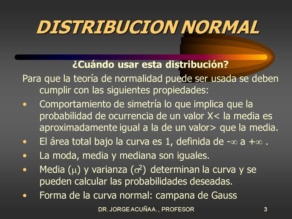 DR. JORGE ACUÑA A., PROFESOR2 DISTRIBUCION DE VARIABLE ALEATORIA CONTINUA La variable en estudio es continua: todas las dimensiones (altura, peso, tem