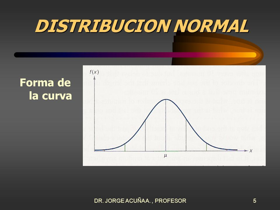 DR. JORGE ACUÑA A., PROFESOR4 DISTRIBUCION NORMAL Fórmulas El valor esperado de la media es y el de la varianza es 2.