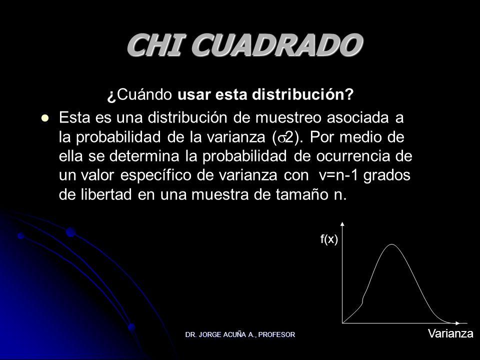 DR. JORGE ACUÑA A., PROFESOR CHI CUADRADO ¿Cuándo usar esta distribución? Esta es una distribución de muestreo asociada a la probabilidad de la varian