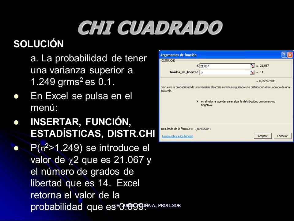 DR. JORGE ACUÑA A., PROFESOR CHI CUADRADO SOLUCIÓN a. La probabilidad de tener una varianza superior a 1.249 grms 2 es 0.1. En Excel se pulsa en el me