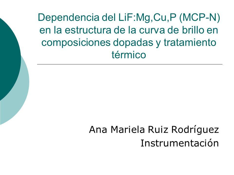 Dependencia del LiF:Mg,Cu,P (MCP-N) en la estructura de la curva de brillo en composiciones dopadas y tratamiento térmico Ana Mariela Ruiz Rodríguez I
