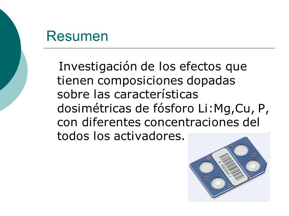 Resumen Investigación de los efectos que tienen composiciones dopadas sobre las características dosimétricas de fósforo Li:Mg,Cu, P, con diferentes co