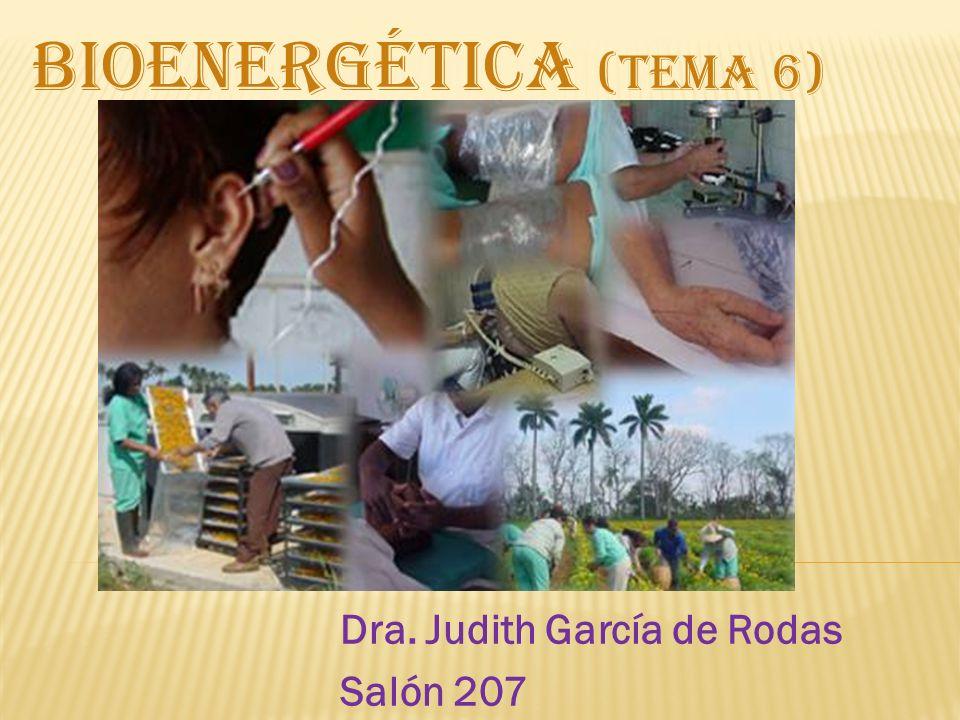 Dra. Judith García de Rodas Salón 207 BIOENERGÉTICA (TEMA 6)