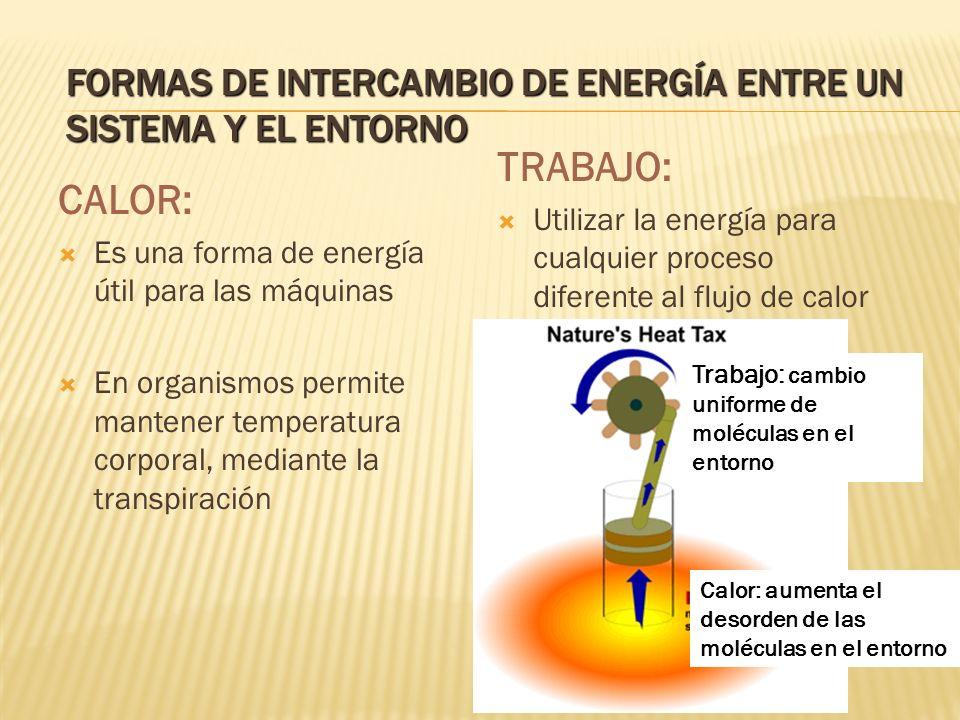 FORMAS DE INTERCAMBIO DE ENERGÍA ENTRE UN SISTEMA Y EL ENTORNO CALOR: Es una forma de energía útil para las máquinas En organismos permite mantener te
