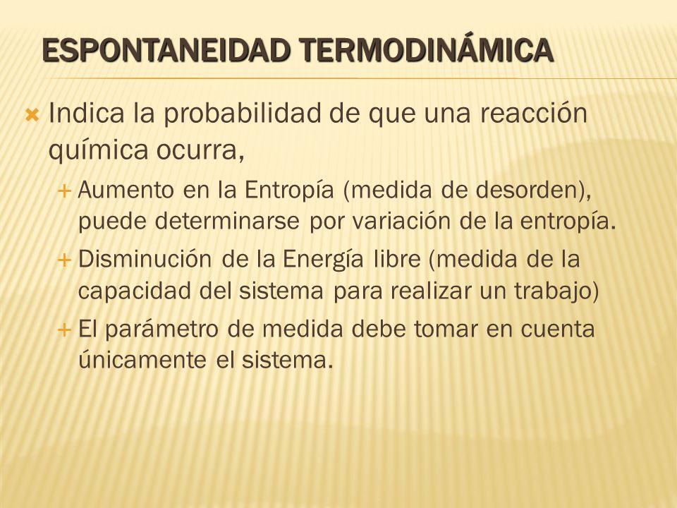 ESPONTANEIDAD TERMODINÁMICA Indica la probabilidad de que una reacción química ocurra, Aumento en la Entropía (medida de desorden), puede determinarse