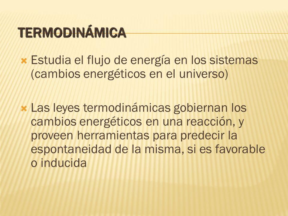 TERMODINÁMICA Estudia el flujo de energía en los sistemas (cambios energéticos en el universo) Las leyes termodinámicas gobiernan los cambios energéti
