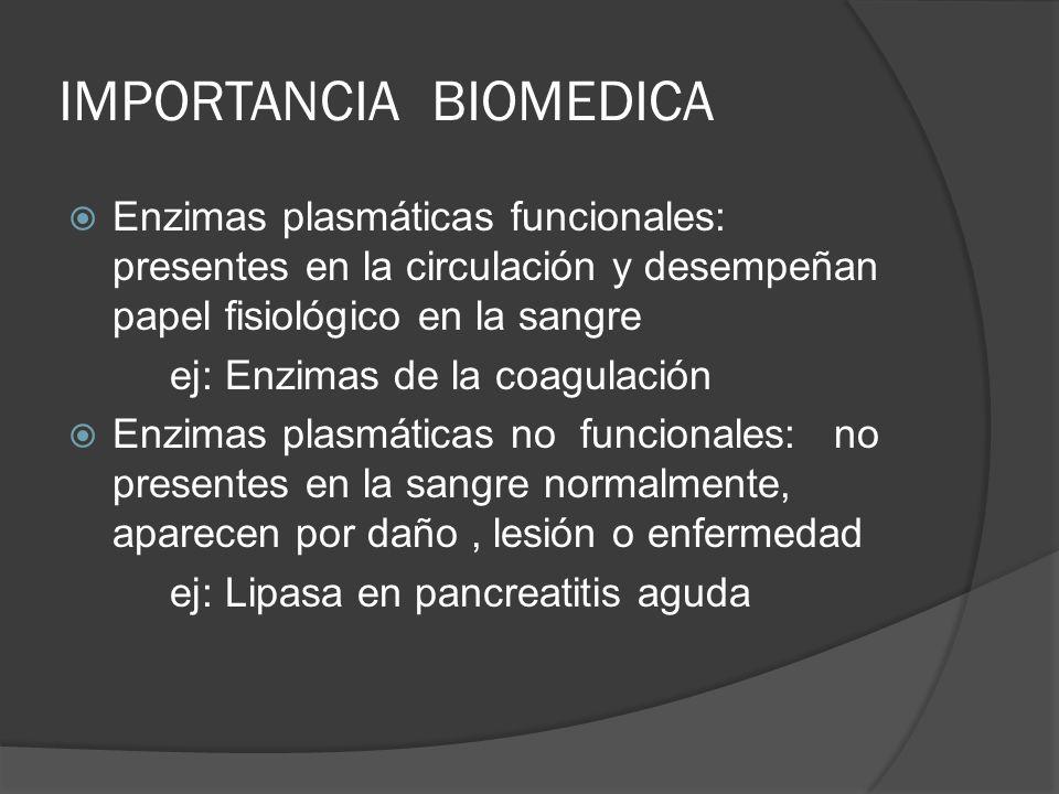 IMPORTANCIA BIOMEDICA Enzimas plasmáticas funcionales: presentes en la circulación y desempeñan papel fisiológico en la sangre ej: Enzimas de la coagu